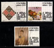 A616A- COLOMBIA - 1981 - MI#: 1470-1472 - USED SET - ART PAINTINGS - Kolumbien