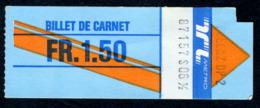 Ticket - Billet Ou Titre De Transport Métro-Bus - LAUSANNE - TL - 1,50 Fr - Billet De Carnet - Busse