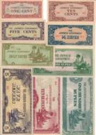 Burma Lot Set 1942 Japan 9 Occupation Banknotes XF-AUNC .CV. - Myanmar