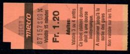Ticket - Billet Ou Titre De Transport Métro - LAUSANNE - 1,20 Fr - Station OUCHY 3 - Busse