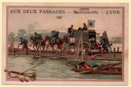 Trade Card. Chromo. Aux Deux Passages à Lyon. Scène Militaire, La Voiture Ambulance Sur Un Pont. - Andere