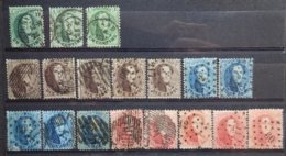 BELGIE  1863   Lotje Tand. 13 1/2   3 X Nr. 13 A / 5 X 14 A / 5 X 15 A En 5 X 16 A     Gestempeld   CW  315,00 - 1863-1864 Médaillons (13/16)