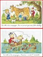 2 CPA Illustrateur ROB-VEL. La Ville à La Campagne ...K063 - Illustratori & Fotografie