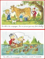 2 CPA Illustrateur ROB-VEL. La Ville à La Campagne ...K063 - Künstlerkarten