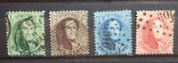 BELGIE  1863     Nr. 13 A - 16 A  Tand. 13 1/2  (3)    Gestempeld   CW  79,00 - 1863-1864 Medallones (13/16)