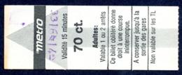Ticket - Billet Ou Titre De Transport Métro - LAUSANNE - 70 Ct. - Codification - Busse