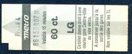 Ticket - Billet Ou Titre De Transport Métro - LAUSANNE - 60 Ct. - Station PFLON 4 - Busse