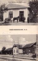 OBER-GRAFENDORF : BAHNHOF & BAHN-RESTAURATION FRANZ SCHWARZ / TRAIN STATION & RESTAURANT ~ 1930 (ad182) - Autriche