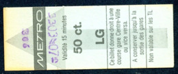 Ticket - Billet Ou Titre De Transport Métro - LAUSANNE - 50 Ct. - Codification - Busse