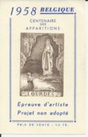 Lourdes Centenaire Des Aparitions 1958 - Epreuve D' Artiste (projet Non Adopté) - Godsdienst & Esoterisme
