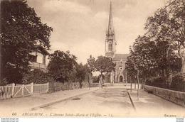 D33  ARCACHON  L' Avenue Sainte- Marie Et L' Eglise  ..... - Arcachon