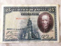 Billete 25 Pesetas. 1928. Rey Alfonso XIII. España. Calderón De La Barca. - [ 1] …-1931 : Premiers Billets (Banco De España)