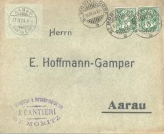 """Motiv Brief  """"Cantieni, Versicherungen, St.Moritz""""          1904 - 1882-1906 Stemmi, Helvetia Verticalmente & UPU"""