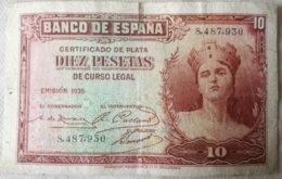 Billete 10 Pesetas. 1935. República Española. Sin Serie - [ 2] 1931-1936 : Repubblica