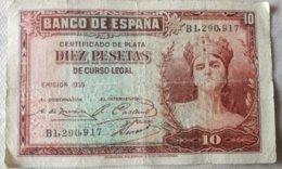 Billete 10 Pesetas. 1935. República Española. Muy Buena Conservación. - [ 2] 1931-1936 : Repubblica