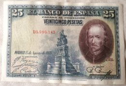 Billete 25 Pesetas. 1928. Rey Alfonso XIII. España. Calderón De La Barca - [ 1] …-1931 : Primeros Billetes (Banco De España)