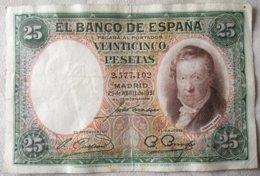 Billete 25 Pesetas. 1931. República Española. España. Sin Serie. Vicente López - [ 2] 1931-1936 : Republiek