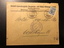Luxemburg * 1915 Differdange-Usines Dienstbrief Lochung Mit Zensurstempel Via Kopenhagen ! Selten ! - Service