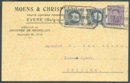 TRAM Carte à En-tête Expédiée De EVERE (commune Au Nord-Est De Bruxelles) Et Déposée Dans La Boîte Du Tram Qui Se Dirige - 1915-1920 Alberto I
