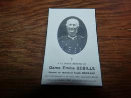 Souvenir Emilia Sebille Bernard Froidchapelle 1861 Rance 1943 - Todesanzeige