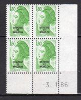Saint-Pierre Et Miquelon Yvert N° 462 Neuf Coin Daté 3 1 86 Liberté De Gandon Lot 21_185 - St.Pierre & Miquelon