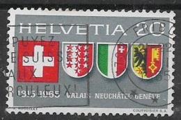 SVIZZERA 1965 ANNIVERSARIO ENTRATA NELLA CONFEDERAZIONE VALLESE UNIF. 752 USATO VF - Usati