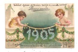 Fillettes-Bonne  Année 1905 Carte Gaufrée- -(D.3255) - Scenes & Landscapes
