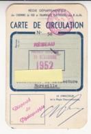 Carte De Circulation Chemins De Fer Et Tramways électriques Des BdR Tramway Marseille Année 1952 Excellent état - Billetes De Transporte