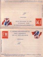 Carte Double, Correspondance Des Armées De La République. Détachable. TB état. - Autres
