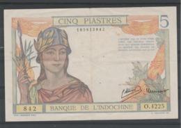 Banque De L' Indochine Billet 1946 De 5 Piastres  O 4225 - 842 - 105613842 - Indocina