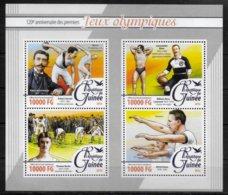 GUINEE  Feuillet  N° 8221/24  * *   ( Cote 17e ) Gymnastique Halterophilie Natation Course Lancer Du Disque Coubertin - Gewichtheben