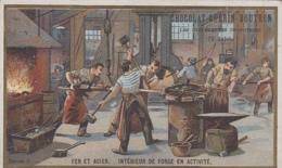 Chromos - Chocolat Guérin-Boutron - Métiers - Forgeron - Fer Acier - Roue Fer Et Acier - Guérin-Boutron