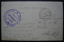 Dépôt D' Hesdin (Pas De Calais) Dépôt De Convalescents Et D'éclopés Trésor Et Postes 102 A, Sur CPA De La Place D'Hesdin - 1. Weltkrieg 1914-1918