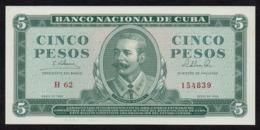CUBA 5 PESOS 1965 PICK 95c UNC - Kuba
