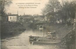 CPA 33 Gironde Le Tourne Langoiran Vue Prise Sur Les Bords De L'Estey Délimitant Les Deux Commnunes Barque Pêcheur - Autres Communes