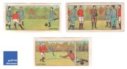 Ensemble De 3 Images Didactiques Chocolat Jacques Années 1940 Sport Football Voetbal Soccer Goal A30-30 - Vieux Papiers