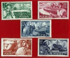 Polonia. Poland. 1956. Mi 959 / 63. Marina Mercante Polaca. Polish Merchant Navy - 1944-.... Repubblica