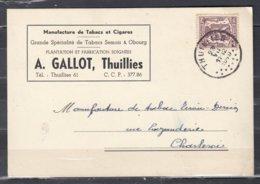 Kaart Van Thuillies Naar Charleroi - 1935-1949 Petit Sceau De L'Etat