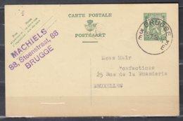 Postkaart Van Brugge 3E Naar Bruxelles - 1935-1949 Petit Sceau De L'Etat