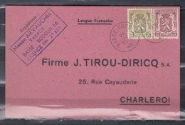 Kaart Van Basse-Bodeux Naar Charleroi - 1935-1949 Klein Staatswapen