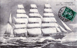 1913, CHERBOURG VOILIER QUATRE MATS Toutes Voiles Dehors, Segelschiff, Karte Gelaufen 1913 - Segelboote