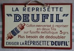 """CARTON  PUBLICITAIRE -  LA REPRISETTE """" DEUFIL """" Coton Mercerisé à Repriser En 2 Fils Sur Fusette Métallique 3 Grs.... - Plaques En Carton"""