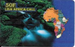 CARTE-PREPAYEE-LISA-AFRICA CALL-50F-31/12/2001-Exp-Plastic Epais-TBE - Andere Voorafbetaalde Kaarten