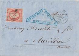 HAUTE LOIRE - LE PUY EN VELAY - EMPIRE - N°16 OBLITERATION PC - LETTRE ENTETE BANQUE BONNET-BLANC AU PUY - 3-1-1861 - 1849-1876: Klassieke Periode