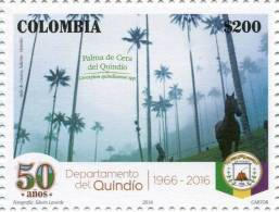 Lote 2016-6.2, Colombia, 2016, Sello, Stamp, Quindio, Horse, Coat Of Arms, Palm Wax, Caballo - Colombia