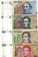ARGENTINA 2 5 10 20 PESOS ND (2010-2013) P.352a-355a SET UNC - Argentina