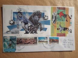 Enveloppe Argentine Distribuée Avec Des Timbres De Football Et Autres - Argentina
