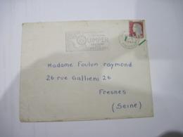 2 LETTRES FLAMME DE QUIMPER  1962  TBE - 1961-....