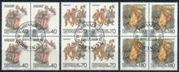 Zumstein 757-759 / Michel 818-820 Viererblockserie Mit ET-Zentrumstempel - Used Stamps