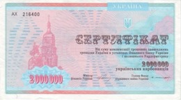 UKRAINE 2000000 KARBOVANTSIV 1997 P-91B UNC - Ukraine